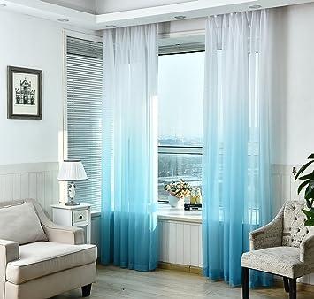 Nibesser Vorhänge Transparent Schlaufenschal Gardine Dekoschal Voile Mit  Ösen Für Schlafzimmer Wohnzimmer 2er Set (140Bx245H
