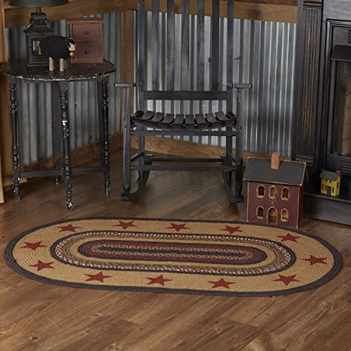 VHC Brands Landon Area Mat Jute Country Star Pattern