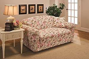 Madison JER-LOVE-FL Stretch Jersey Loveseat Slipcover, Floral, Pink