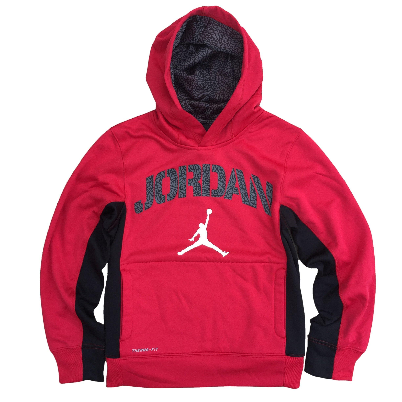 NIKE Air Jordan Jumpman Boys' Pullover Hoodie, Gym Red/Black, Small