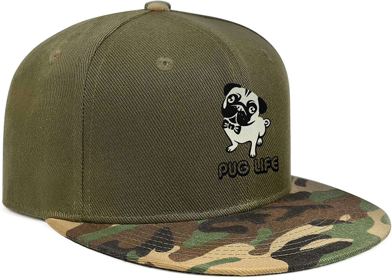 Pug Life Funny Humor Unisex Baseball Cap Fitted Sun Hats Adjustable Trucker Caps Dad-Hat
