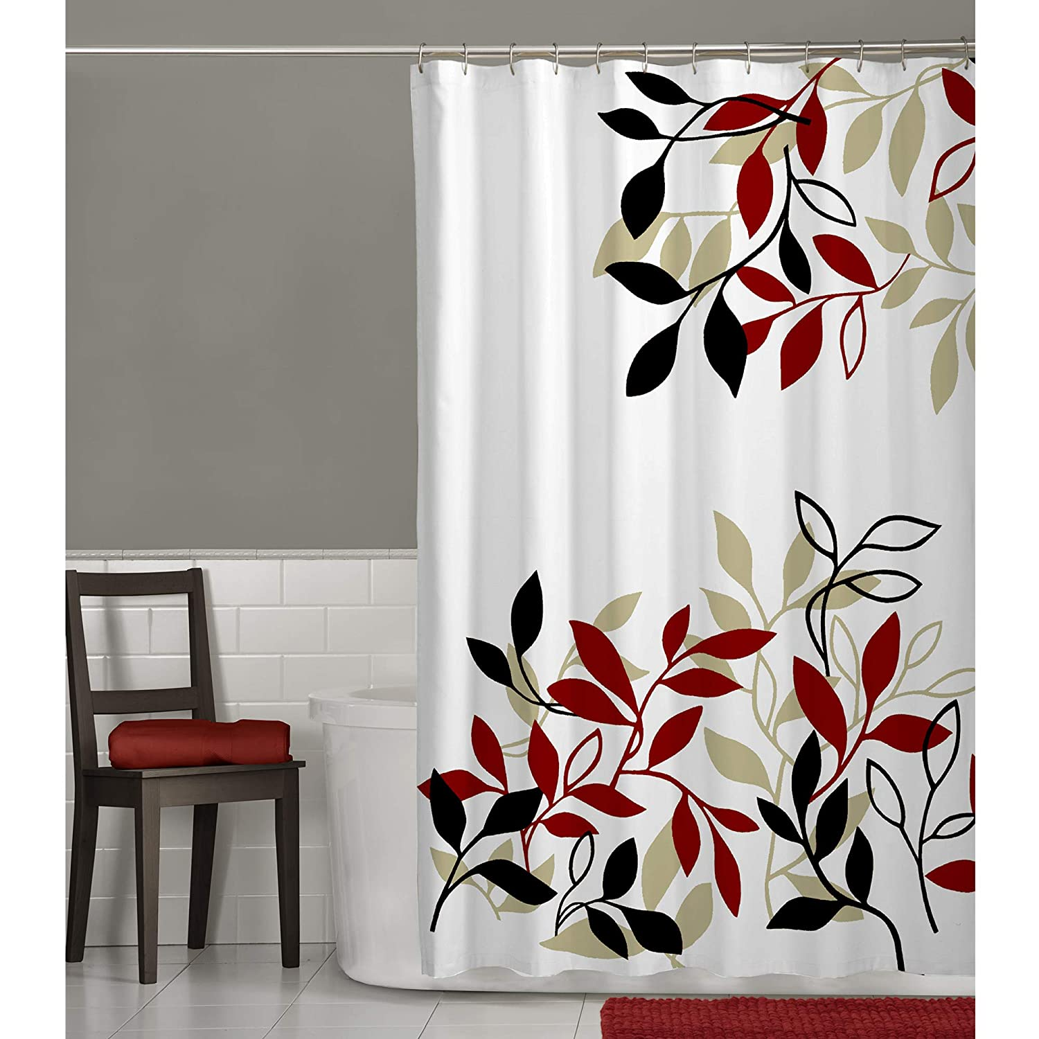 Amazon MAYTEX Satori Leaf Fabric Shower Curtain Red 70 Inches X 72 Home Kitchen