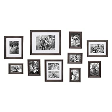 Kate and Laurel Bordeaux Gallery Wall Kit, Set of 10 with Assorted Size Frames with Charcoal Gray Finish