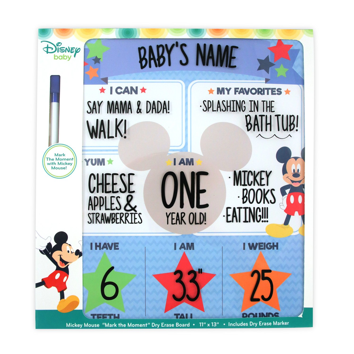 Disney Baby Boys Character Milestone Dry Erase Board Mickey Mouse No No Size