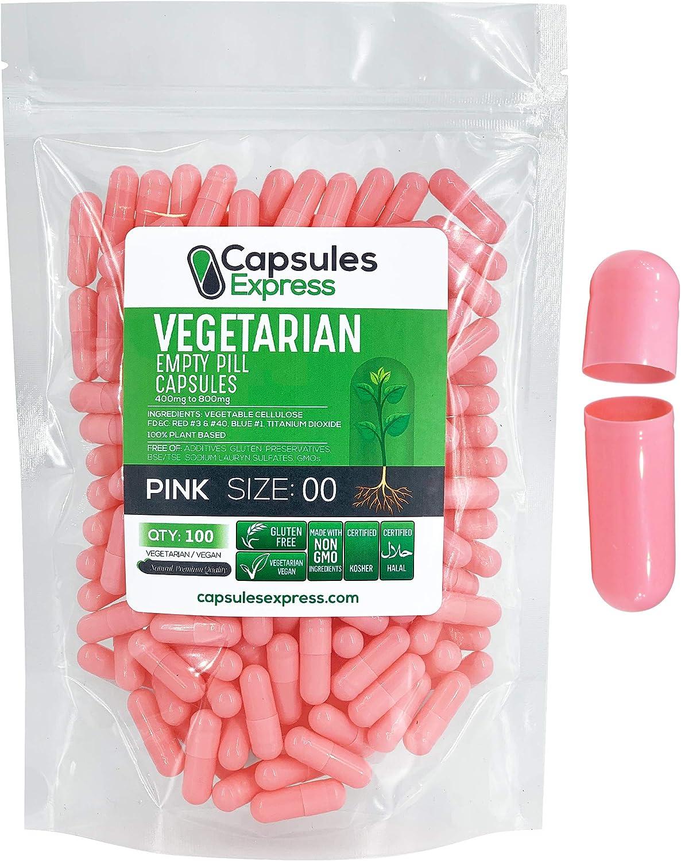 Capsules Express- Size 00 Pink Empty Vegan Capsules - Vegetarian/Vegetable Pill Capsule - DIY Powder Filling (100)