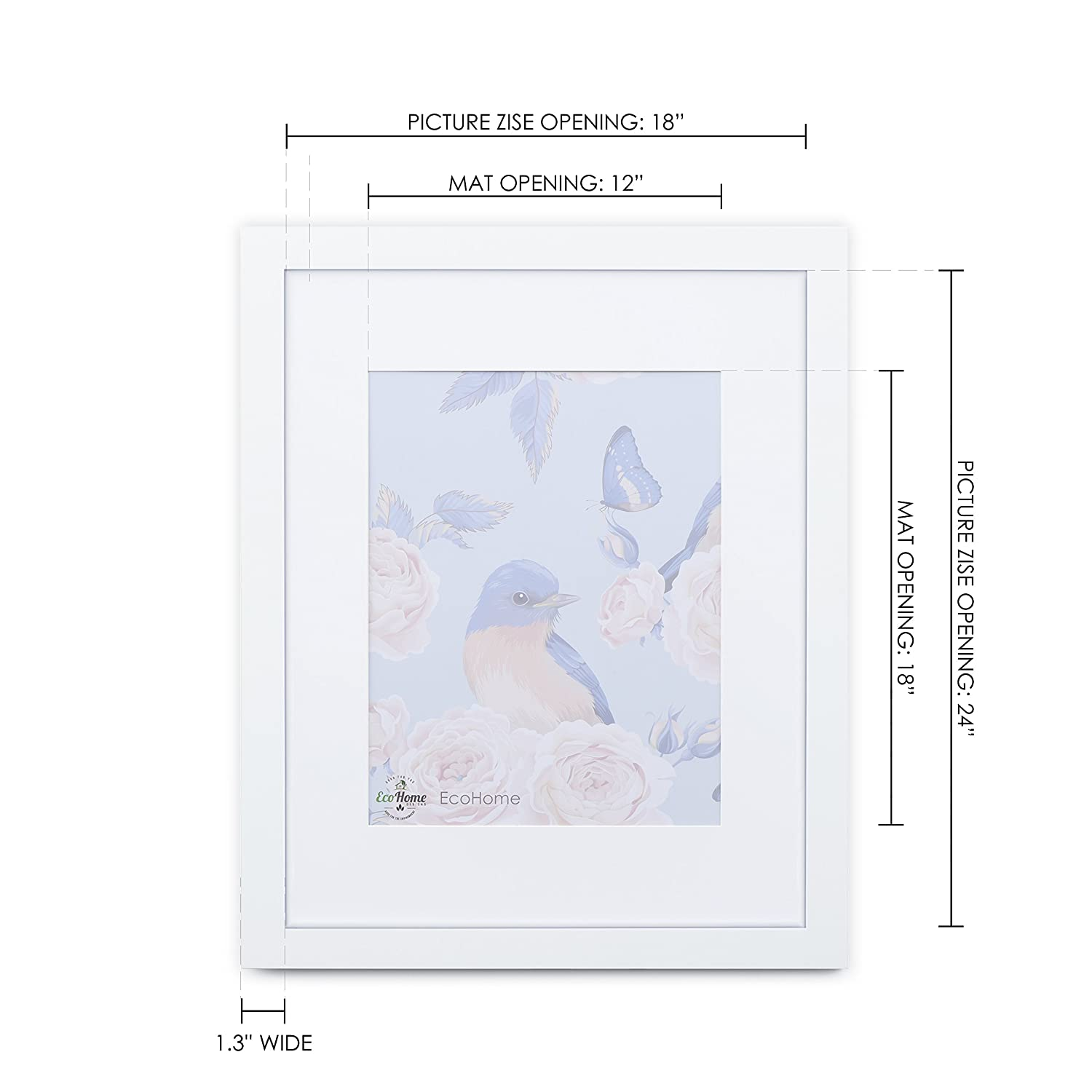 Amazon.com - 18x24 White Picture Frame - Matted for 12x18, Frames by ...