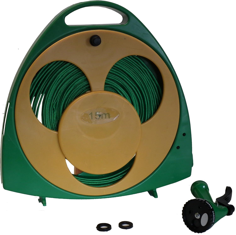 15M Flat Hose Pipe Reel Kit Storage W/ Multifunction Dial Spray Gun ...