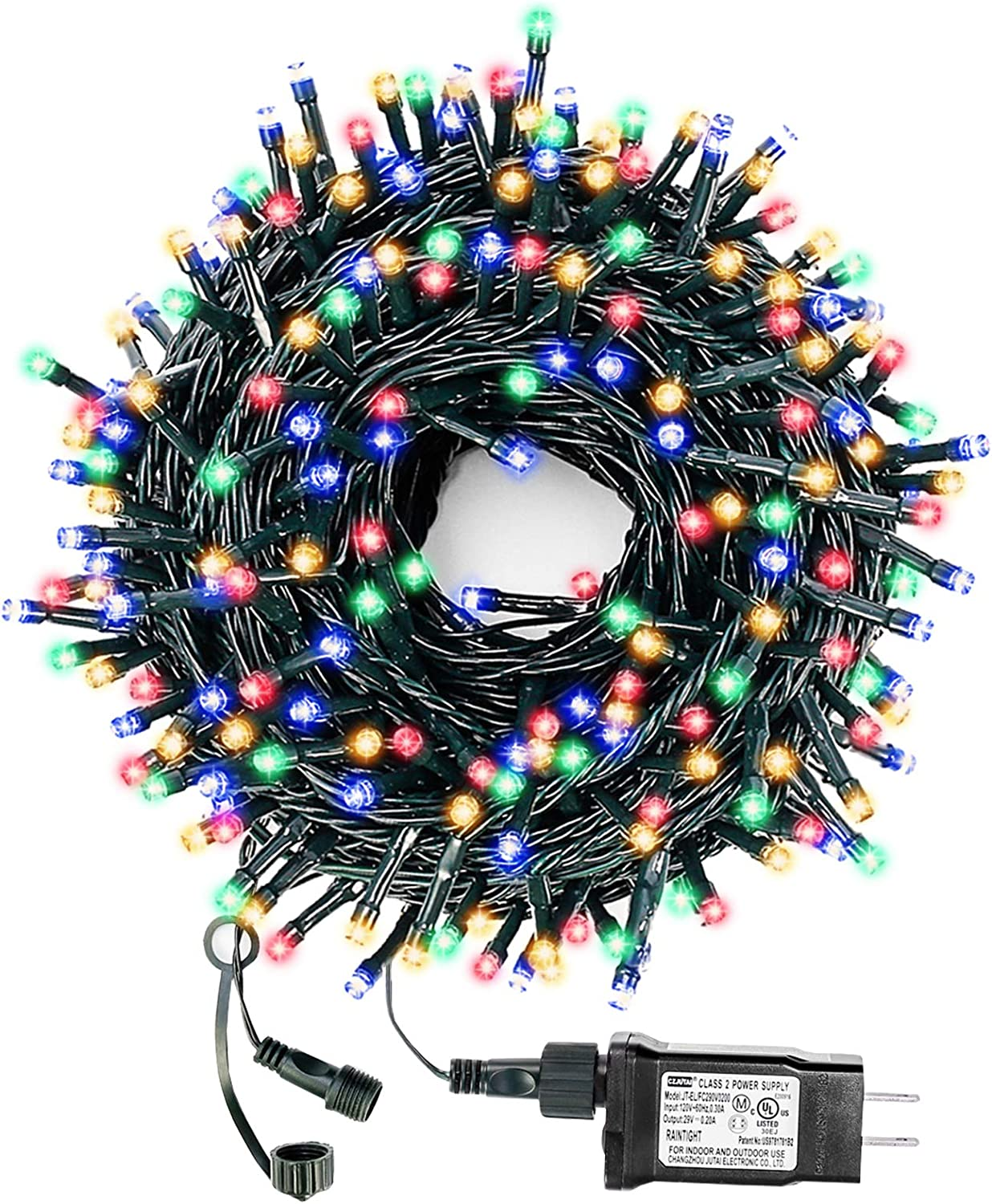 Decute Multi-Color Christmas String Lights Waterproof 300LED 105FT UL Certified with End-to-End Plug 8 Modes, Outdoor Indoor Starry Fairy Lights for Christmas Tree Patio Garden Wedding Party Decor