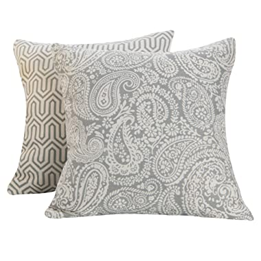 SUNSHINE FASHION Pack of 2 Modern Farmhouse Decorative Throw Pillow Covers Cushion Cases for Couch Sofa Bed Living Room, 18 x 18 inches (Dream Pattern-Gray, 2)