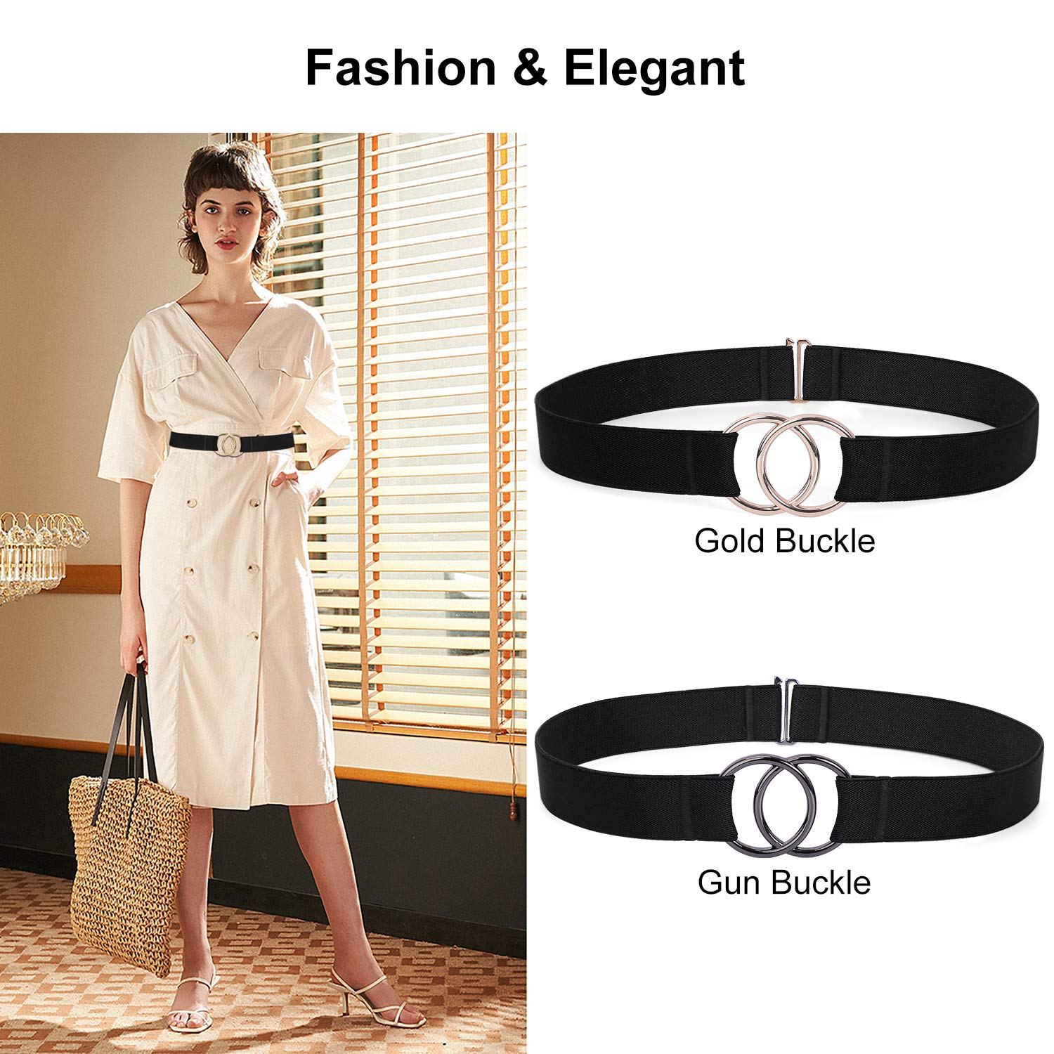 Women Stretch Belt for Dresses Elastic Web Waist Belt with Double O-Ring Buckle(Fits Waist 26\