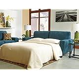 Ashley Furniture Signature Design - Sagen Sleeper Sofa - Queen Mattress - Contemporary - Teal