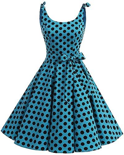 Bbonlinedress 1950's Bowknot Vintage Retro Polka Dot Rockabilly Swing Dress Blue Black BDot XL