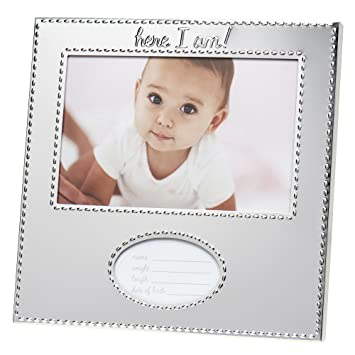 Amazoncom Carters Birth Record Frame Silver Baby