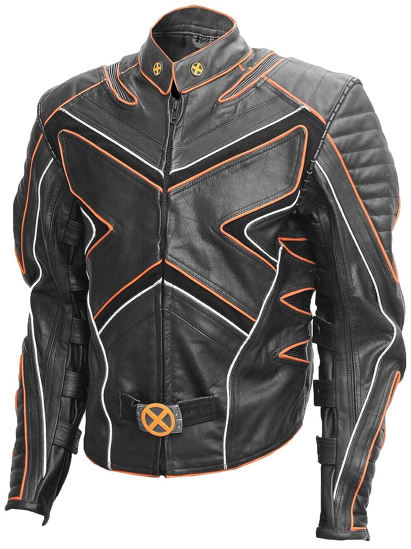 Black & Orange Quilted Men's Wolverine Leather Jacket