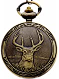 Retro Deer Bronze Half Hunter Design Quartz Pocket Watch Xmas Gift