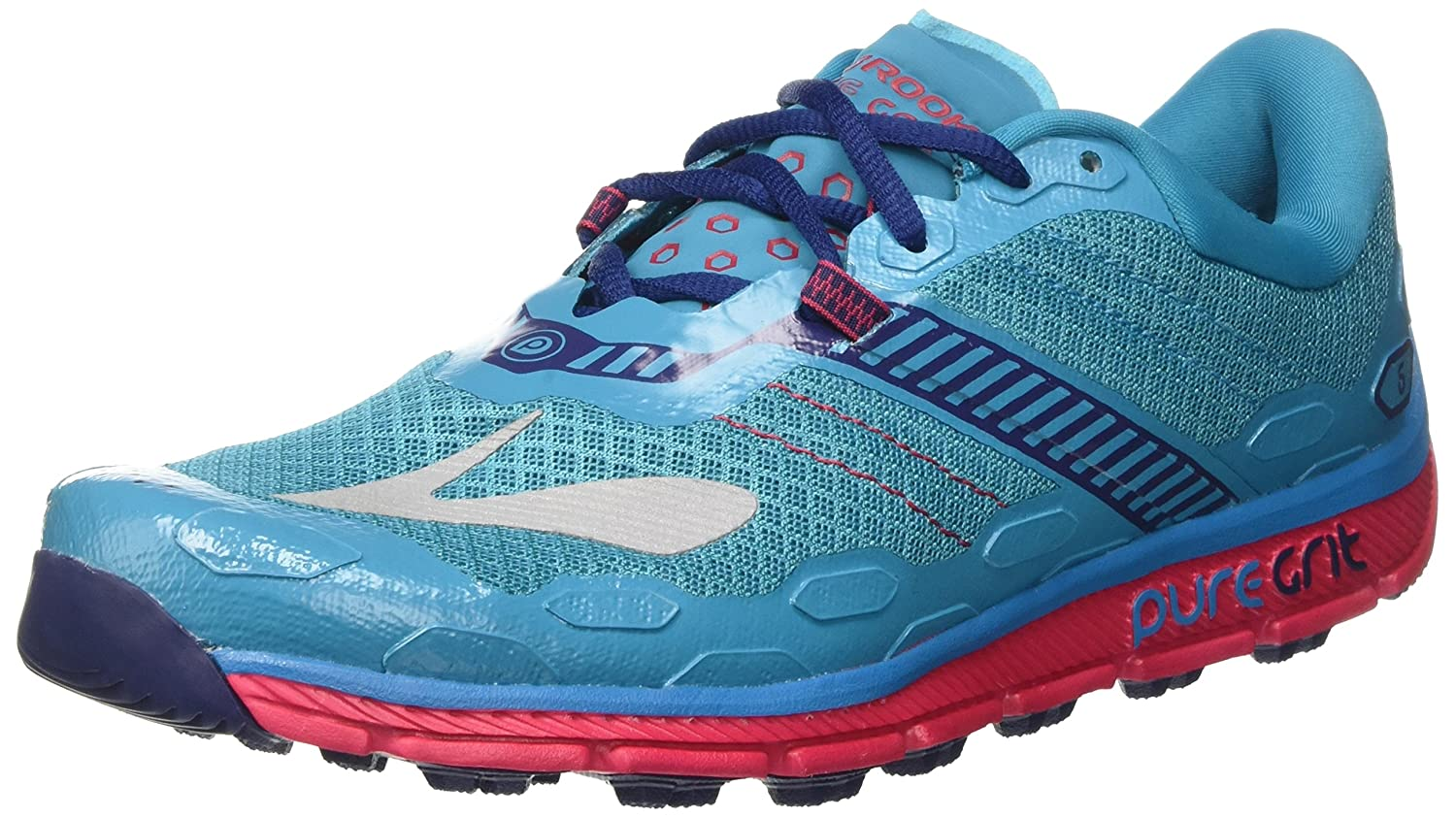 Brooks Women's PureGrit 5 B01GF85122 7 B(M) US|Peacock Blue/Virtual Pink/Patriot Blue