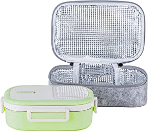 Lille Home Stainless Steel Leakproof Bento Lunch Box/Metal Food Container with Insulated Lunch Bag, BPA Free, 22 Ounces, Green