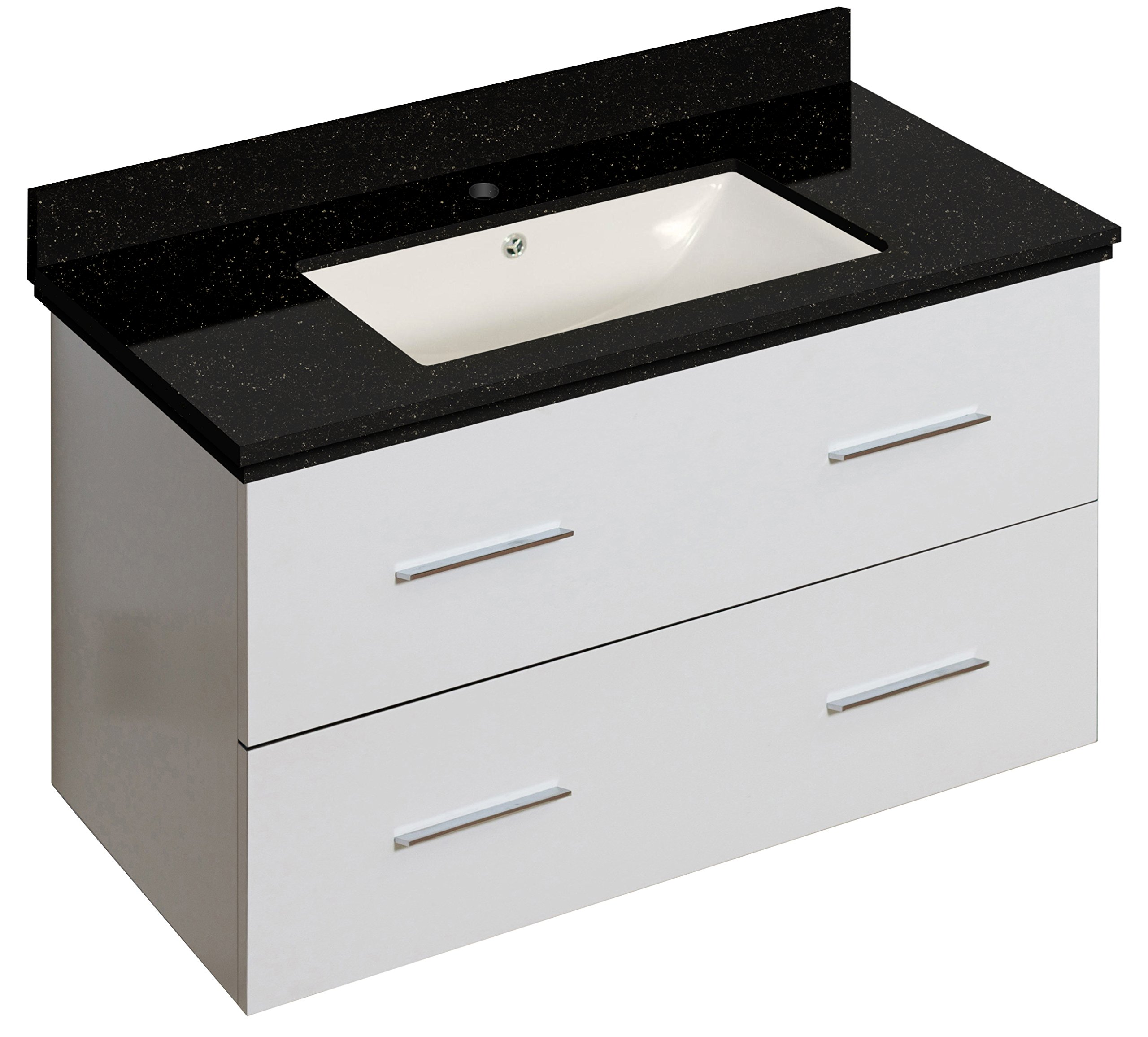 American Imaginations AI-888-18683 Vanity Set White - This product is a Bundle (set of multiple products). this vanity set belongs to the Xena series. This vanity set features a rectangle shape with a modern style. Comes with an overflow for safety This vanity set features 1 sink. This vanity set features 2 drawers. The Color of the undermount sink is biscuit. This vanity set is made with plywood-melamine Double fired and glazed for durability and stain resistance. 1.75-In. Standard usa-canada drain opening. Sink cut-out included in the box. No mdf or chipboard used. Cabinet hardware included - bathroom-vanities, bathroom-fixtures-hardware, bathroom - 81dMykf8DrL -