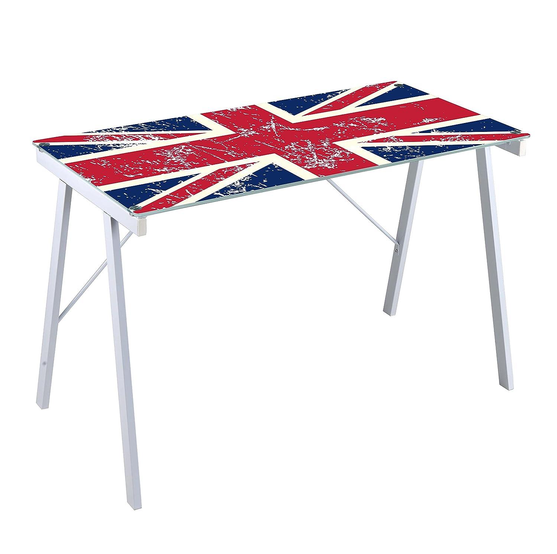 metallo e vetro temperato bandiera inglese Scrivania British Bizzotto 113 x 58 cm