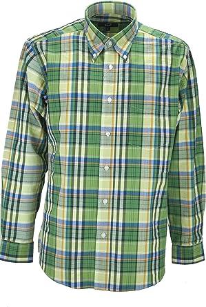 el Hombre de La Camisa Verde Clásico A Cuadros de popelina - Botón-Abajo - Grino: Amazon.es: Ropa y accesorios