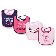 Luvable Friends Baby Baby Drooler Bib, 4 Pack, Selfie, One Size