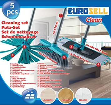 Eurosell Profi 3in1 Mop Bodenwischer Besen Mikrofaser 5tlg Set