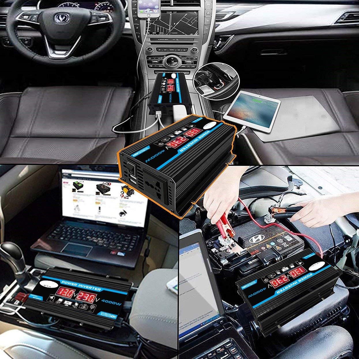Negro 4000W 12V a 220V 110V LED Adaptador de Cargador de convertidor de inversor de Corriente para autom/óvil Transformador de Voltaje USB Dual Onda sinusoidal modificada