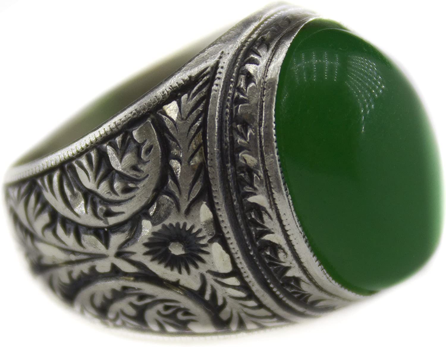 Natural Gemstone Steel Pen Crafts Handmade Falcon Jewelry Mens Sterling Silver Ring
