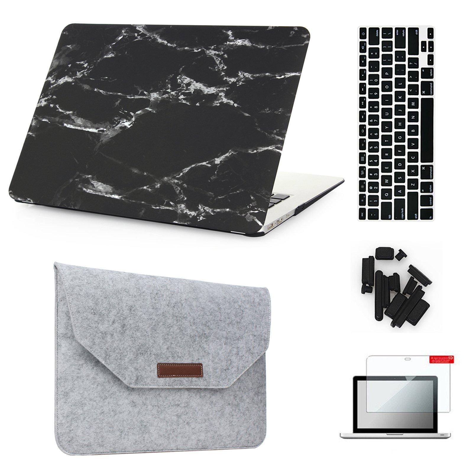 MacBook Air 13'' Case & Sleeve[5 in 1 Bundle], Keyrun Plastic Hardshell Case Bundle with Felt Sleeve, Screen Protector, Keyboard Cover & Dust Plug for MacBook Air 13-inch A1369/A1466 - Black Marble