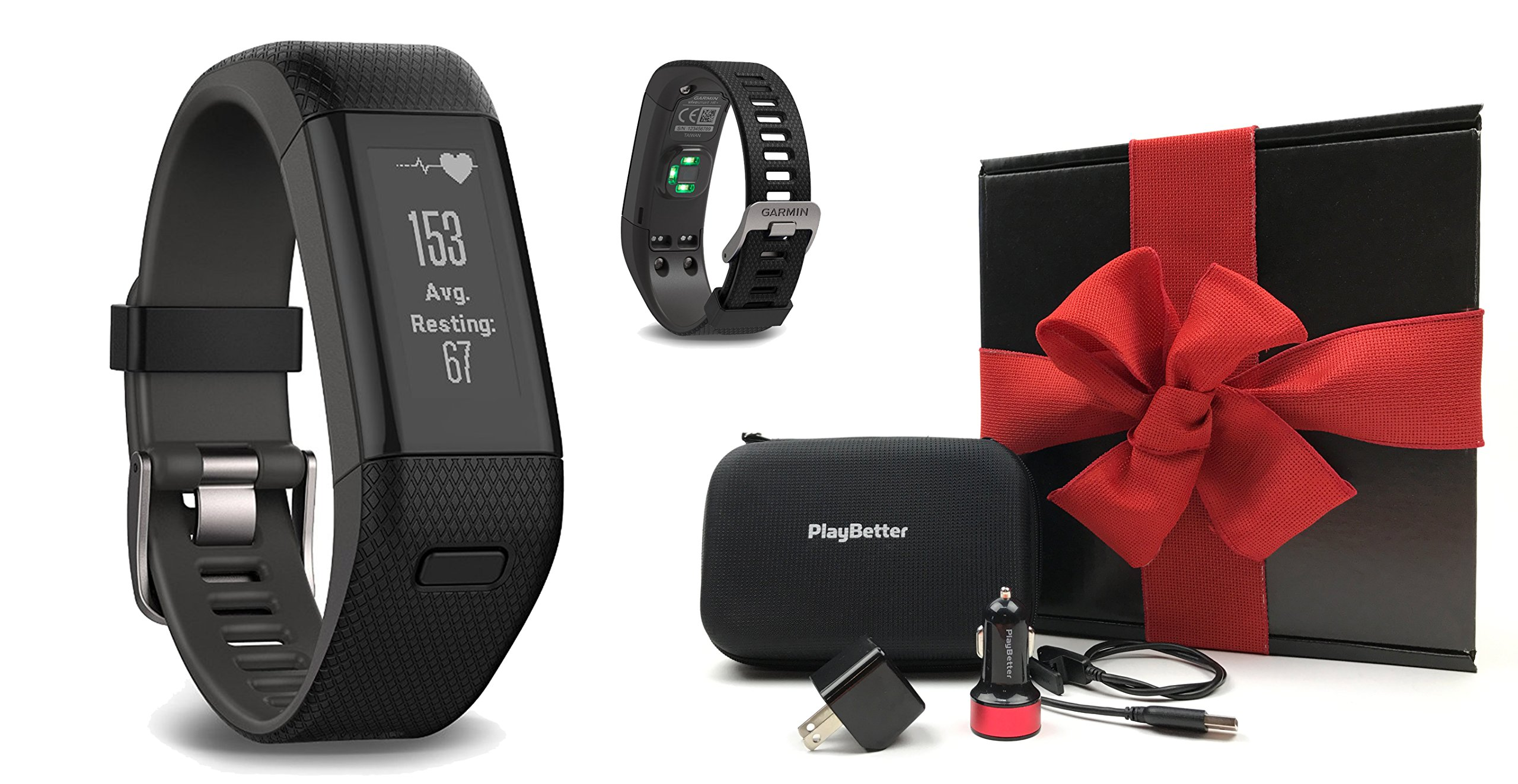 Garmin vivosmart HR+ (Black) GIFT BOX Bundle | Includes GPS Fitness Band/Activity Tracker with Wrist-HR, PlayBetter USB Car/Wall Adapter, Protective Case | Black Gift Box