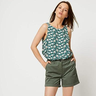 f66171c7a12b9 Monoprix - Débardeur imprimé - Femme - Taille : 48 - Couleur : Vert ...