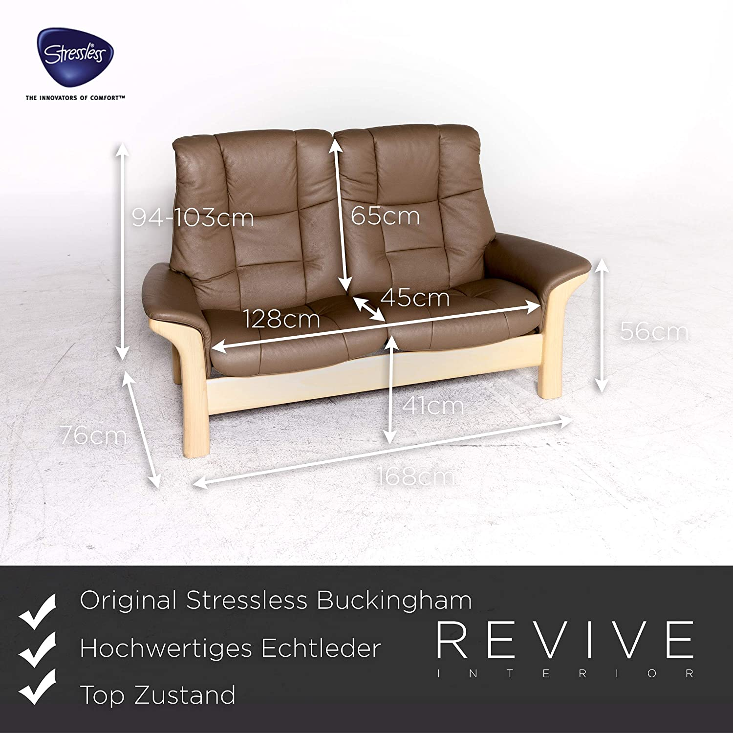 Amazon.com: Stressless Buckingham Designer Leather Sofa ...