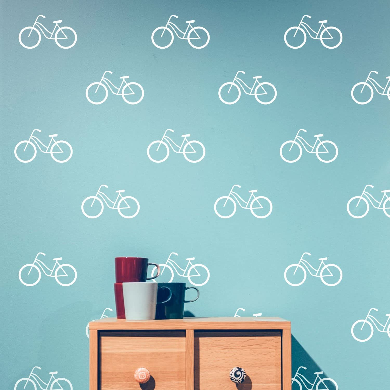 Set of 20 Vinyl Wall Art Decal - Bicycle Patterns - 3