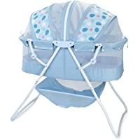 Big Oshi Emma Newborn Baby Bassinet - Portable Bassinet for Boys or Girls - Perfect for Bedside, Indoors, or Outdoors - Lightweight for Travel - Canopy Netting Cover - Wood Bed Base, Blue Circles