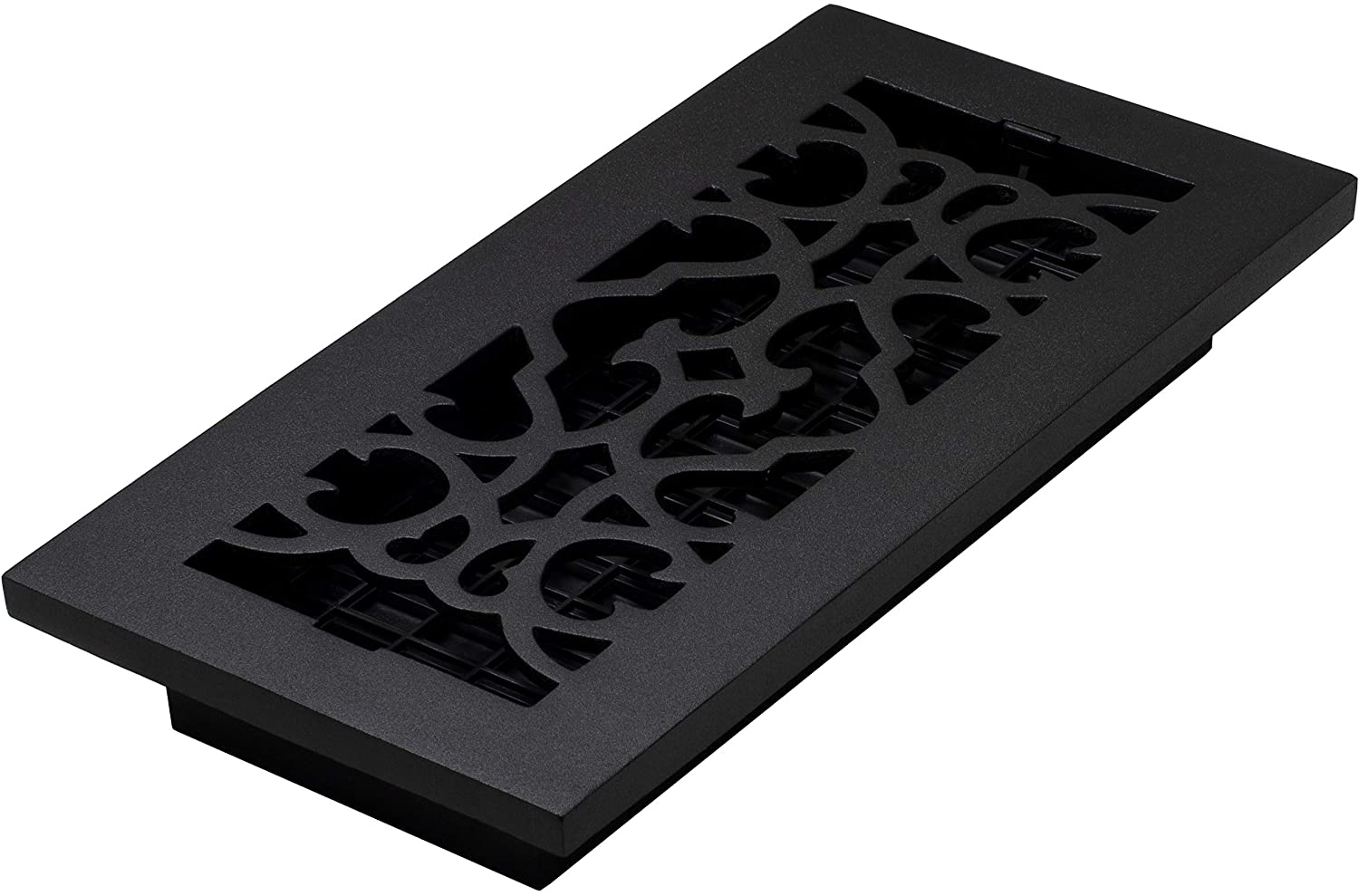 Decor Grates AC410-BLK Victorian Floor Register, 4 x 10, Cast Iron Black
