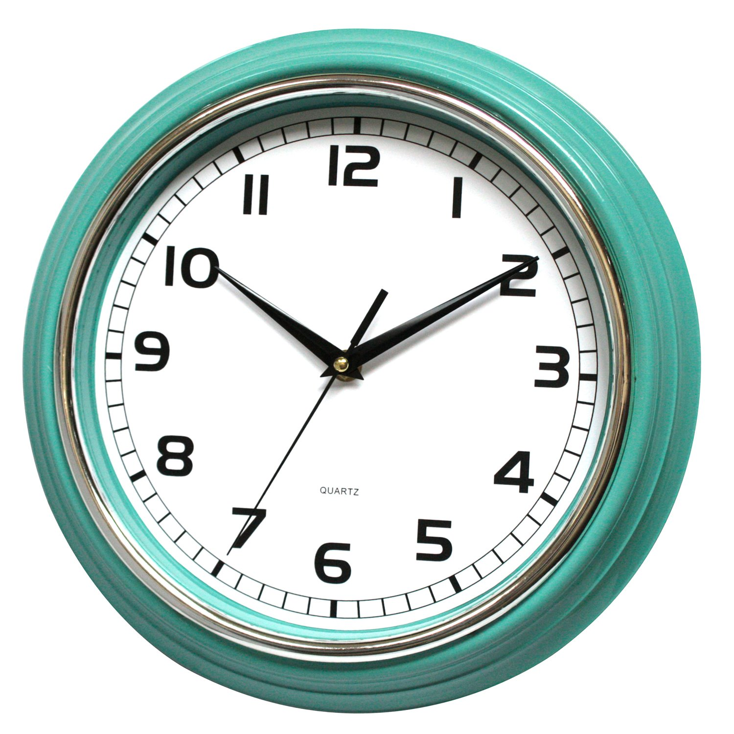 12-Inch Aqua Decorative Wall Clock- Silent & Non Ticking -Large & Easy to Read - Ideal for Home, Office, Living Room
