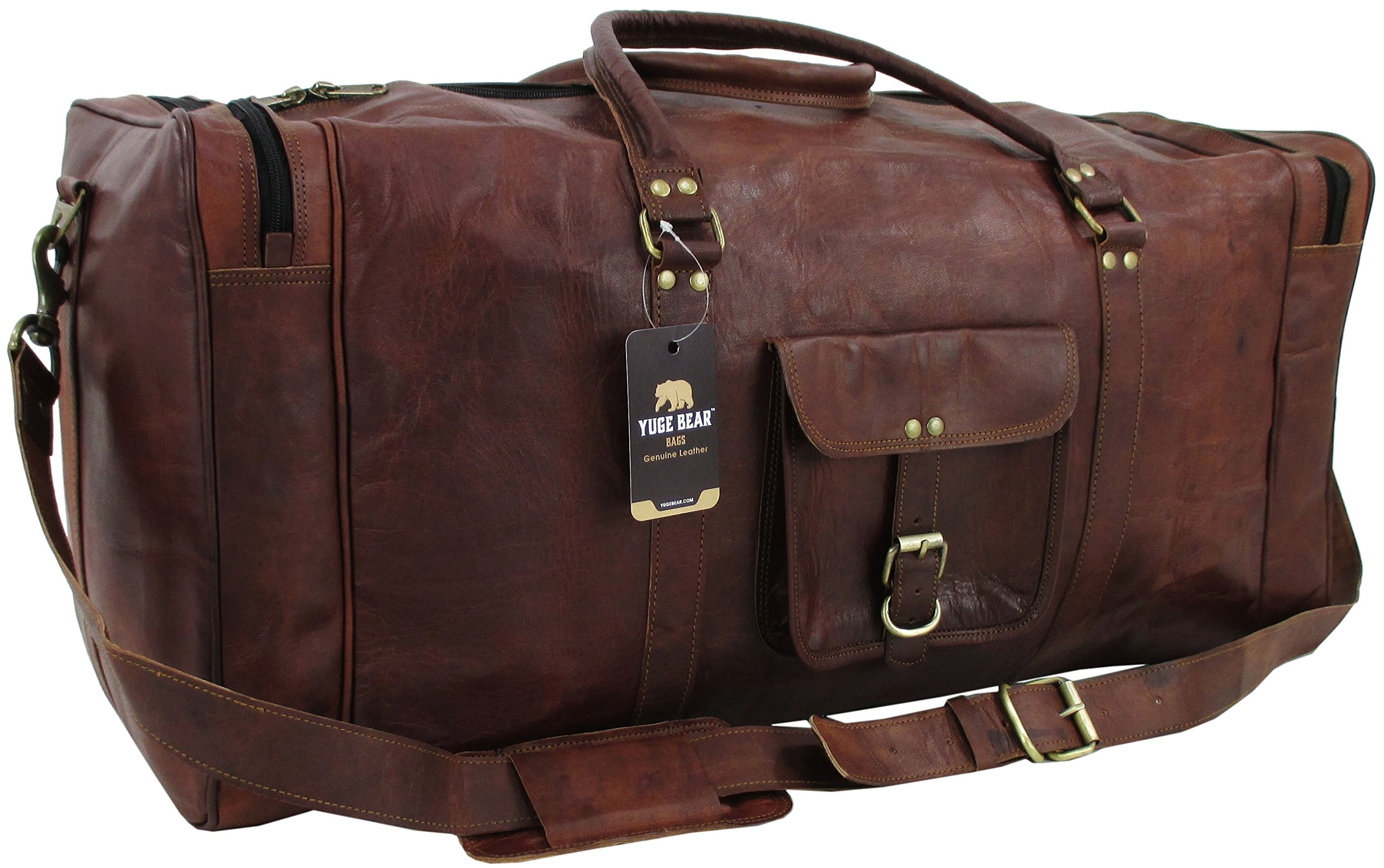 Yuge Bear 28'' DS3 Vintage Genuine Leather Extra Large Duffel Weekender Gym Bag by Yuge Bear