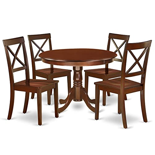 HLBO5-MAH-W 5Pc Rounded 42 Inch Dinner Table And Four Wood Seat Kitchen Chairs
