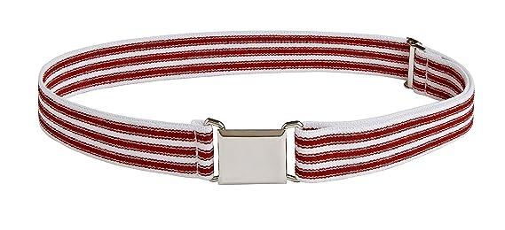 Sportoli Kids Elastic Adjustable Dress Stretch Belt with Silver Square Buckle