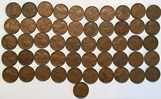 1945 D Lincoln Cent Roll  50 coins Wheat
