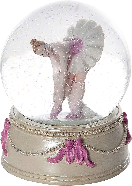Mousehouse Pink Ballet Dance Musical Snow Globe Music Box Gift Present Girls