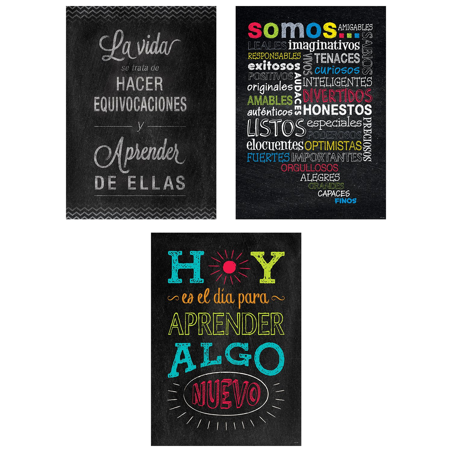 Creative Teaching Press Chalk It Up! Spanish Inspire U Poster, 3-Pack, CTP (8171)
