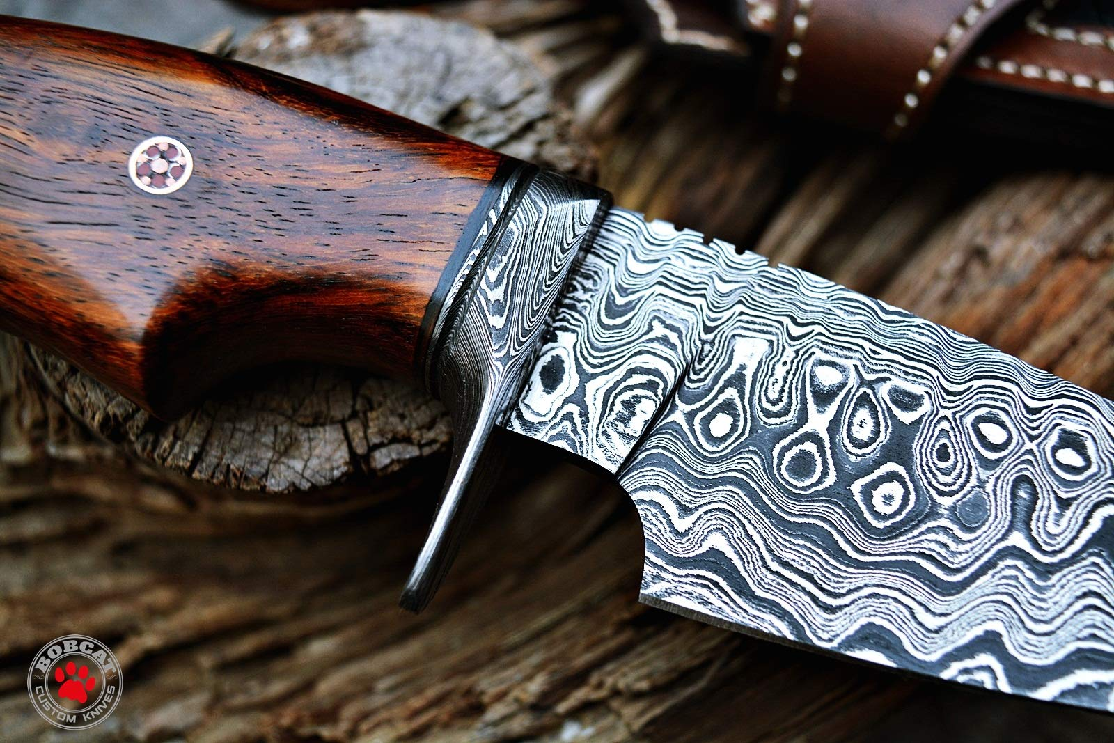 Custom Handmade Hunting Knife Bowie Knife Damascus Steel Survival Knife EDC 10'' Overall Walnut Wood with Sheath by Bobcat Knives (Image #3)