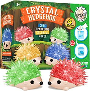 XXTOYS Crystal Growing Kit for Kids - 4 Vibrant Colored Hedgehog to Grow - Science Experiments for Kids - Crystal Science Kits - Craft Stuff Toys for Teens - STEM Projects for Boys & Girls