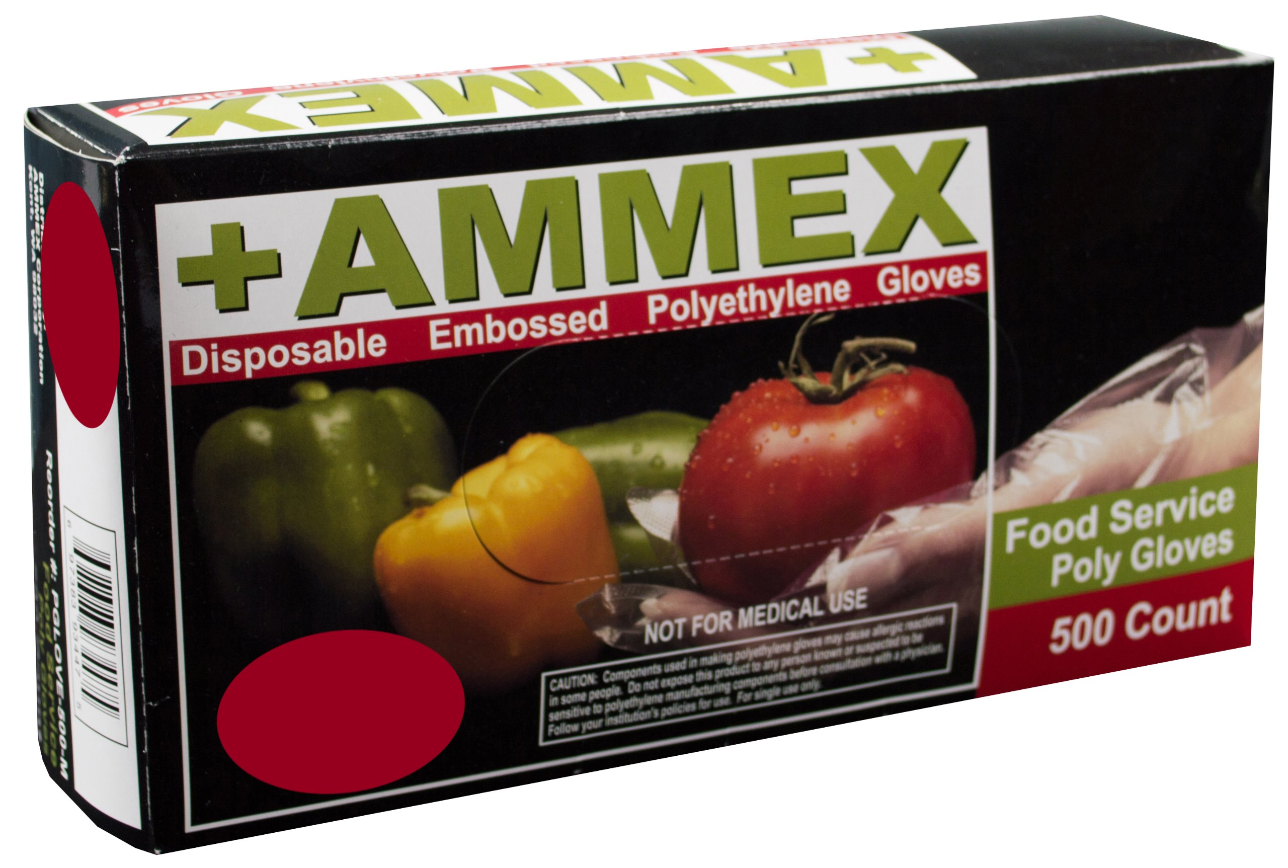 AMMEX - PGLOVE-M-500-MC - Poly Gloves - Disposable, Food Service, 1 mil, Medium, Clear (Mastercase of 10000) by Ammex