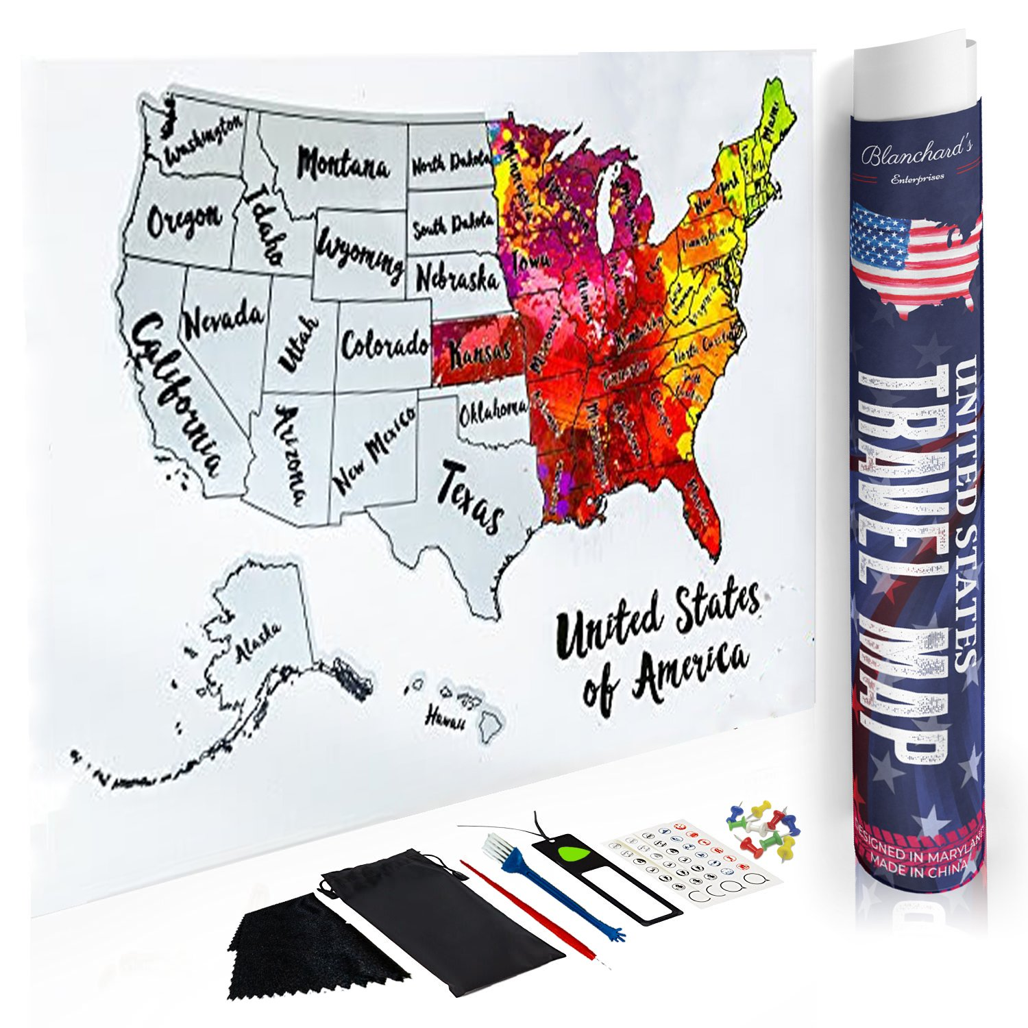 Blanchard's Enterprises Scratch Off Map of The United States - Beautiful Watercolors - Scratch Off Silver Foil to Reveal USA Scratch Map 12x18 US Map for Travelers - Full Accessory KIT Included!