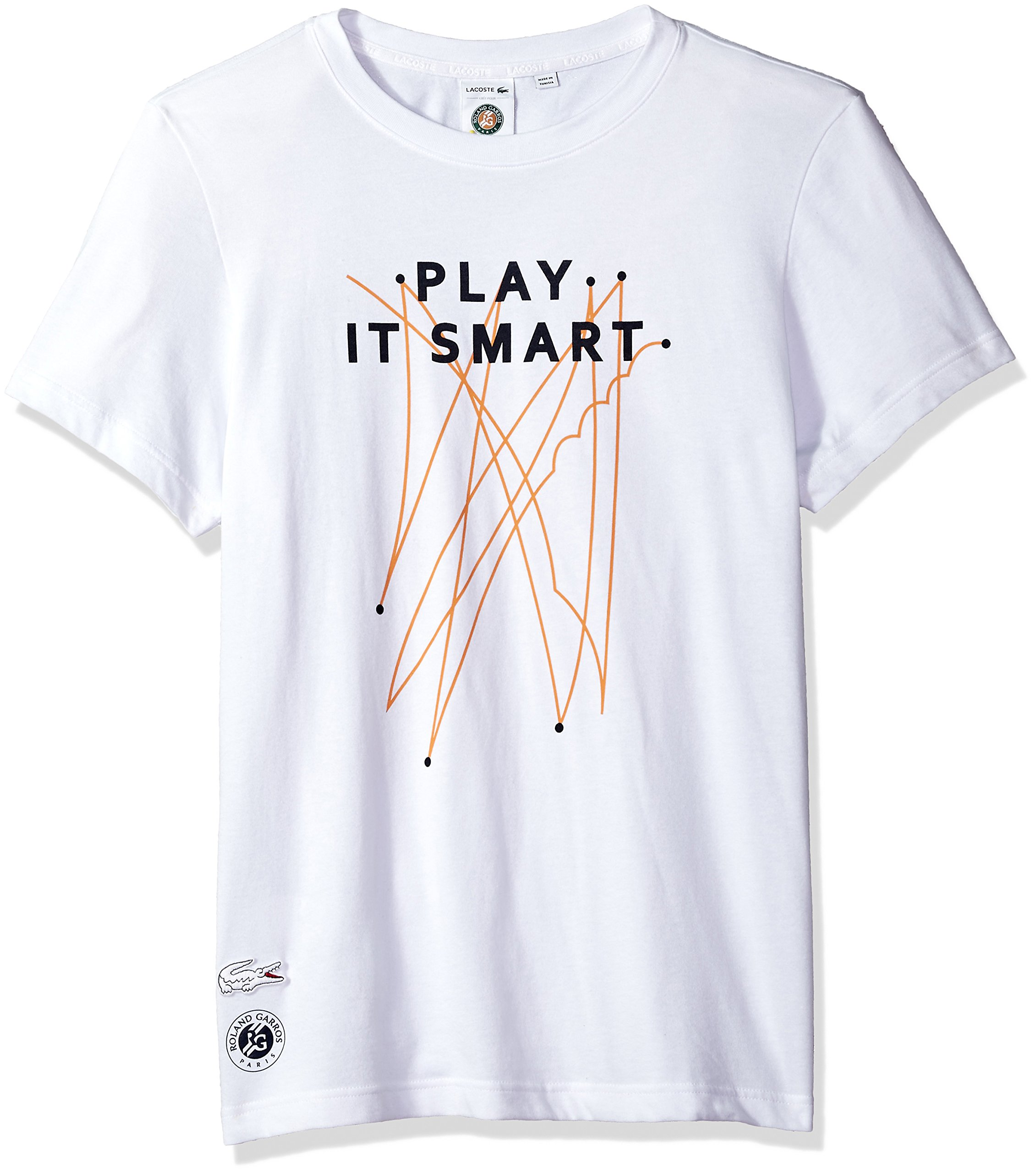 Lacoste Men's Short Sleeve Jersey Tech with Play It Smart Graphic T-Shirt, TH3352, White/Navy Blue/Apricot, X-Large