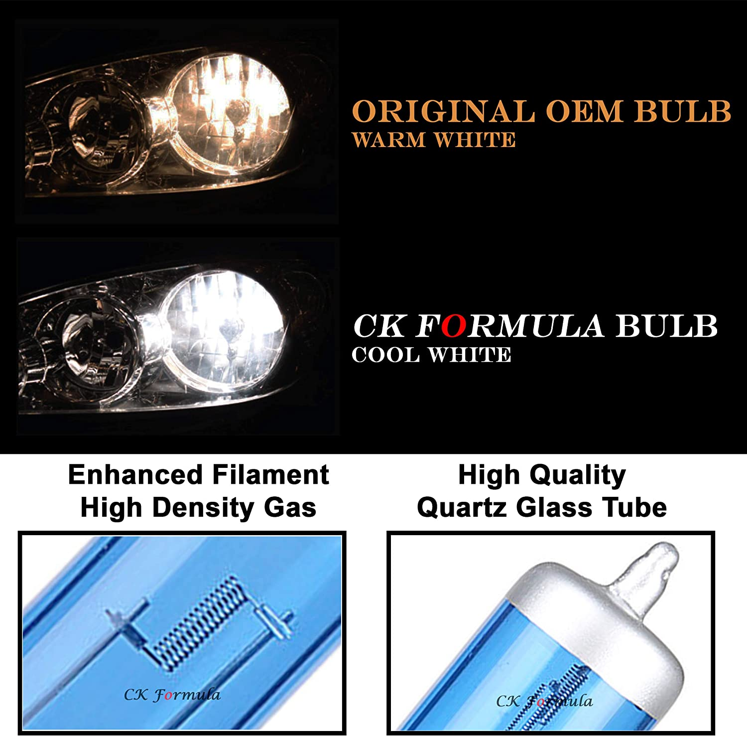 CK Formula Set of 2 9006 Headlight Bulbs Low Beam Headlight Bulb 12V 55W 5000K Super Bright White Headlight Bulbs 9006 Bulb 9006 Headlight Bulb 9006 Halogen 9006 Headlight Car Headlight Bulbs