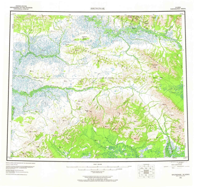 Amazon.com : YellowMaps Shungnak AK topo map, 1:250000 Scale, 1 X 3 ...