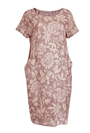 be5b0470960 Alex Boutique New Ladies Made in Italy Lagenlook Linen Boho Floral Print  Women s Tunic Dresses (
